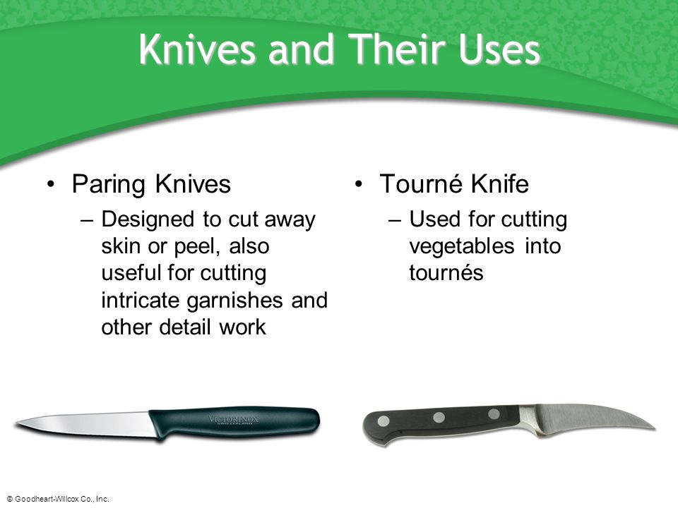 Knives and Their Uses Paring Knives Tourné Knife