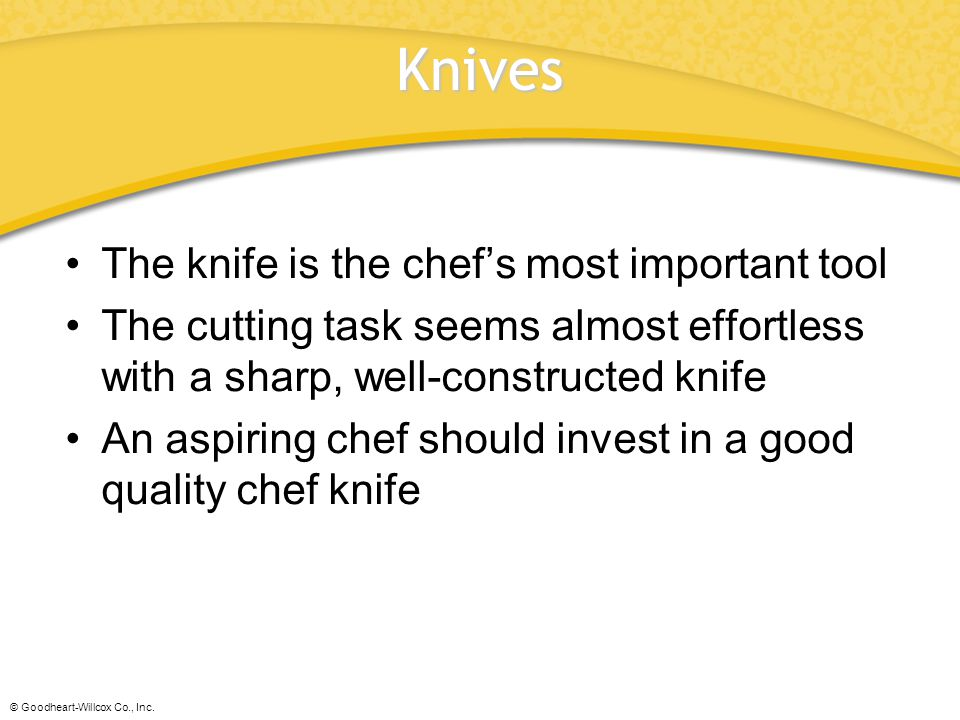 Knives The knife is the chef's most important tool