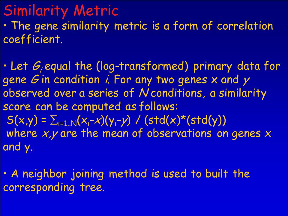 Similarity Metric The gene similarity metric is a form of correlation coefficient.
