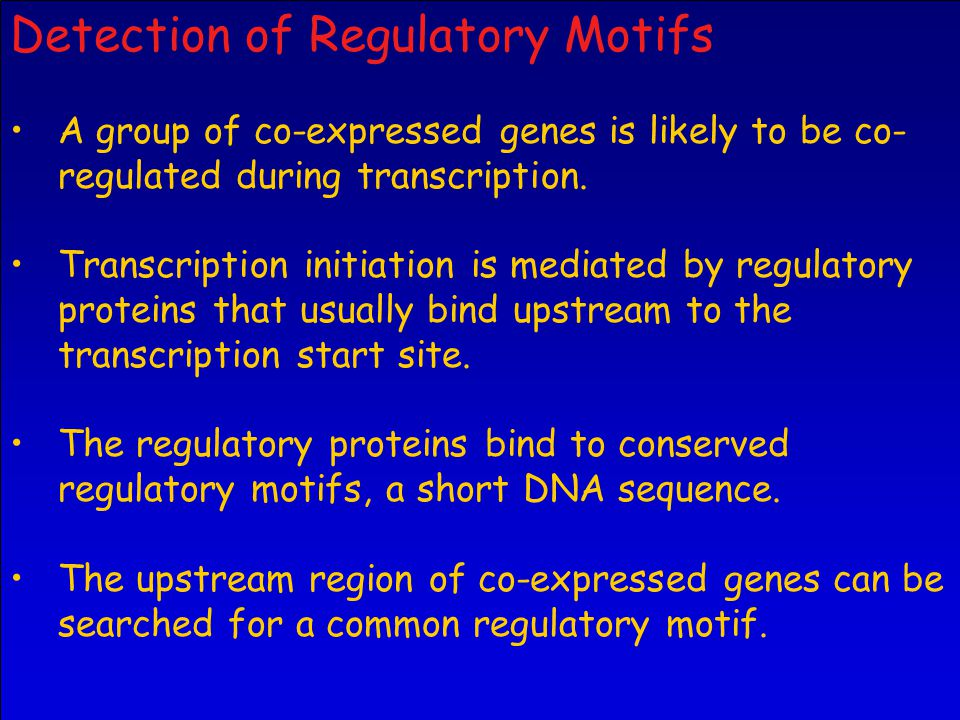 Detection of Regulatory Motifs