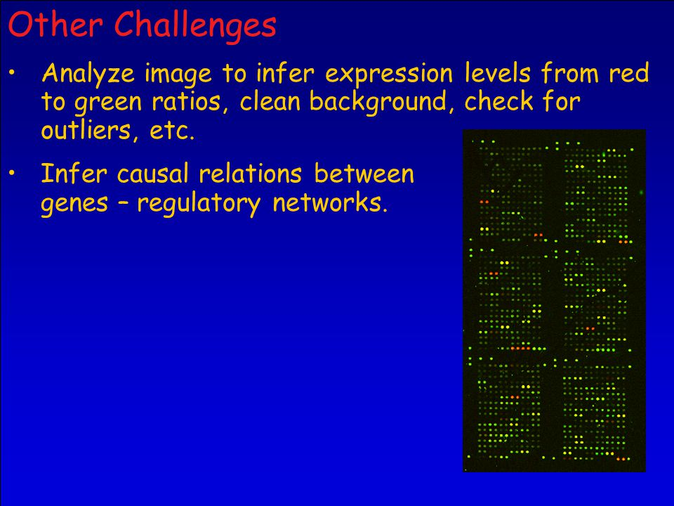 Other Challenges Analyze image to infer expression levels from red to green ratios, clean background, check for outliers, etc.