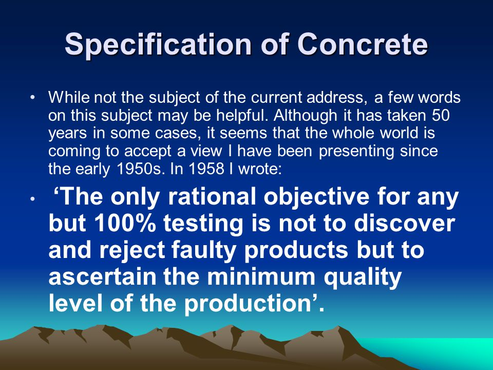 Specification of Concrete