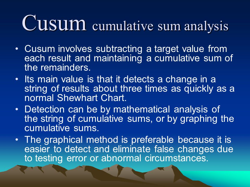 Cusum cumulative sum analysis