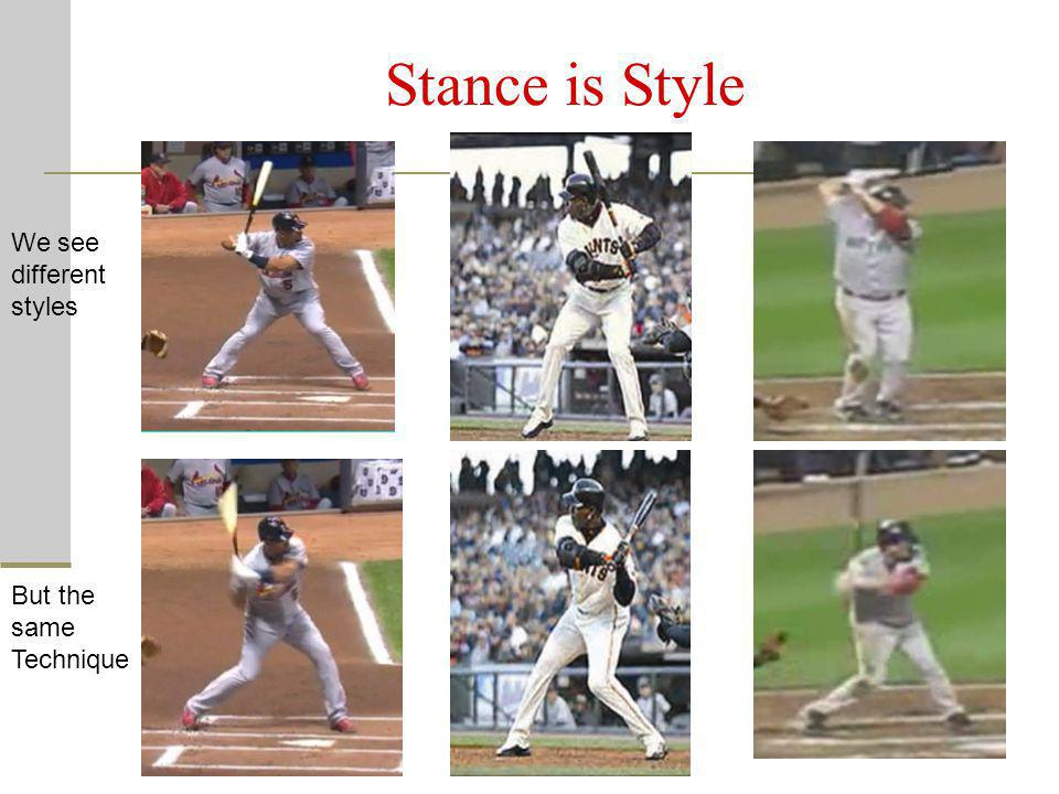 Stance is Style We see different styles But the same Technique