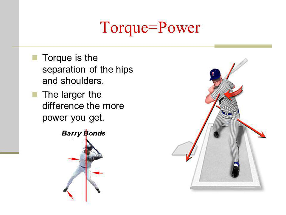 Torque=Power Torque is the separation of the hips and shoulders.