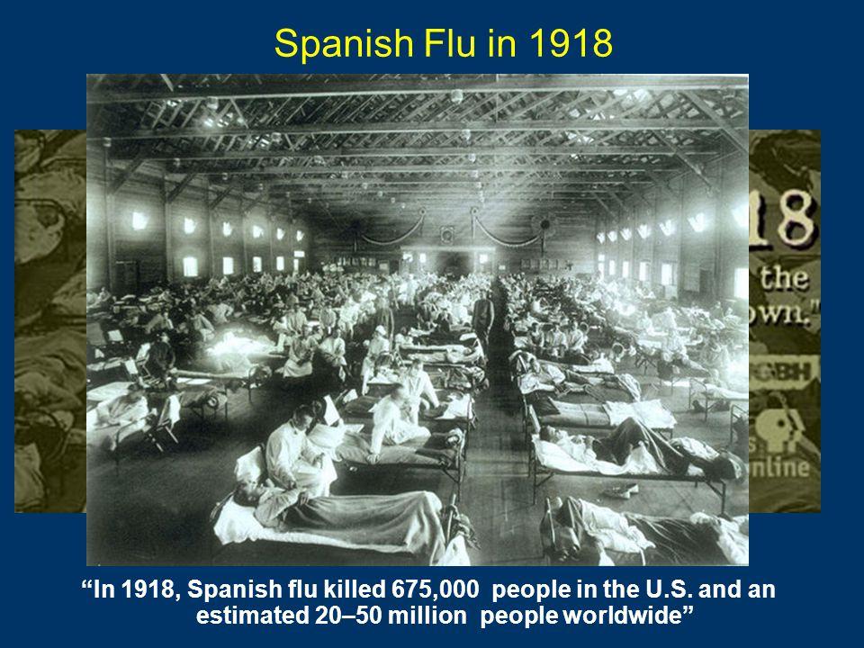 Spanish Flu in 1918 In 1918, Spanish flu killed 675,000 people in the U.S.