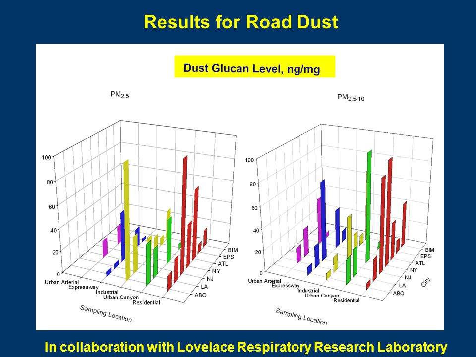 Results for Road Dust In collaboration with Lovelace Respiratory Research Laboratory