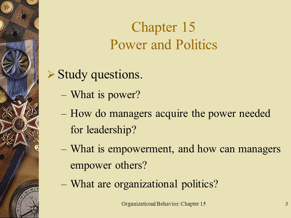Chapter 15 Power and Politics