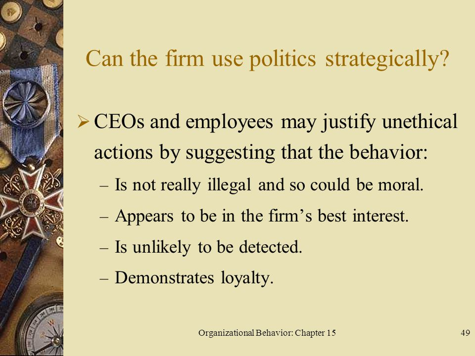 Can the firm use politics strategically