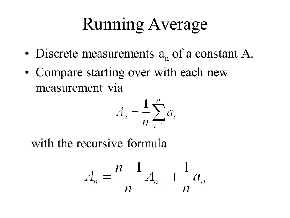 Running Average Discrete measurements an of a constant A.