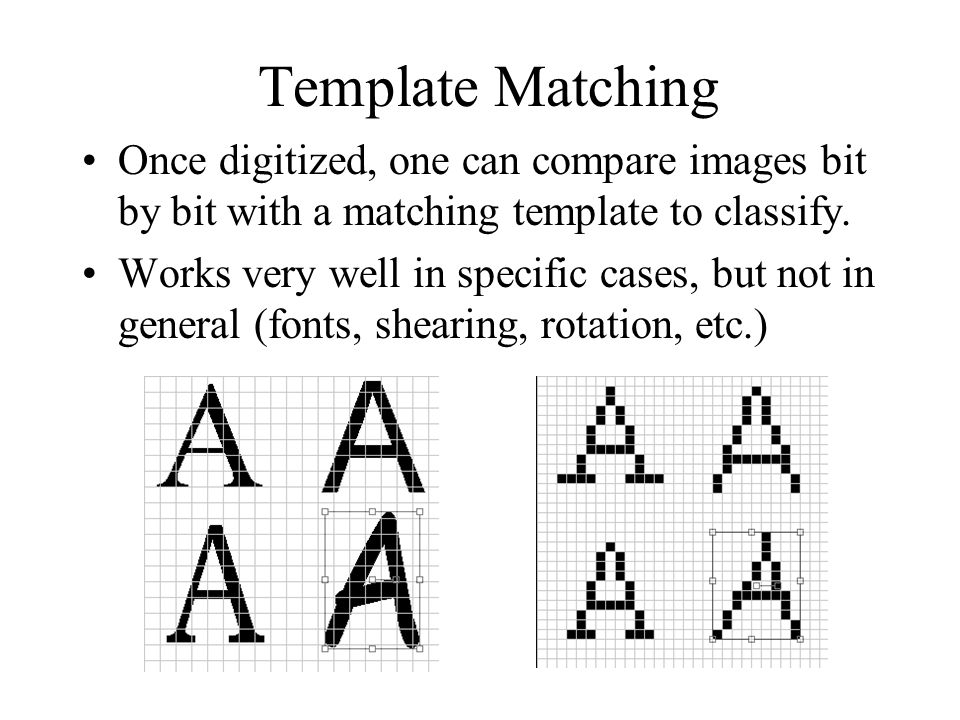 Template Matching Once digitized, one can compare images bit by bit with a matching template to classify.