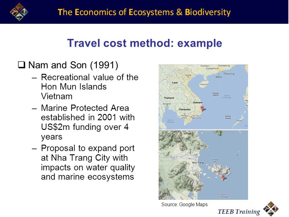 Travel cost method: example