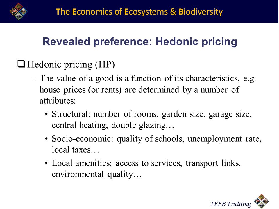 Revealed preference: Hedonic pricing