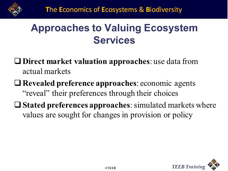 Approaches to Valuing Ecosystem Services