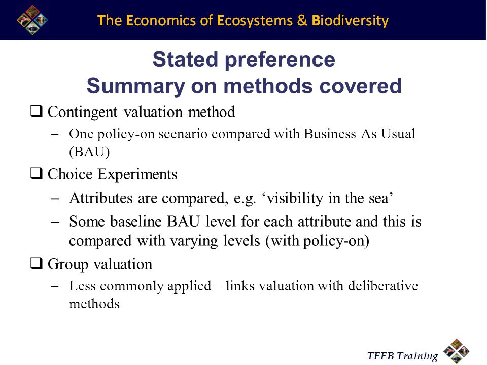 Stated preference Summary on methods covered