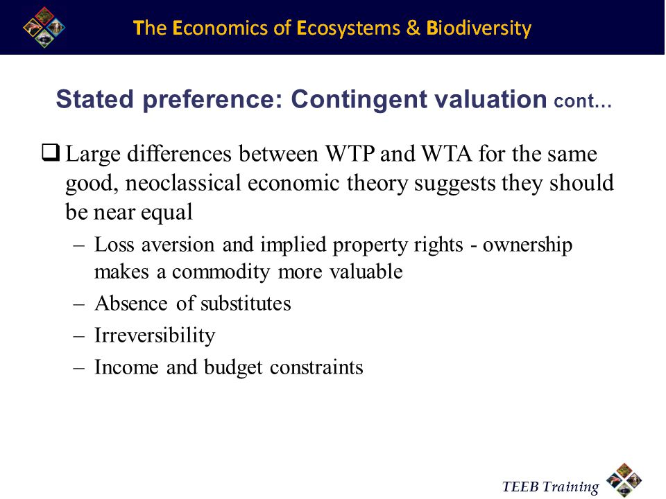Stated preference: Contingent valuation cont…