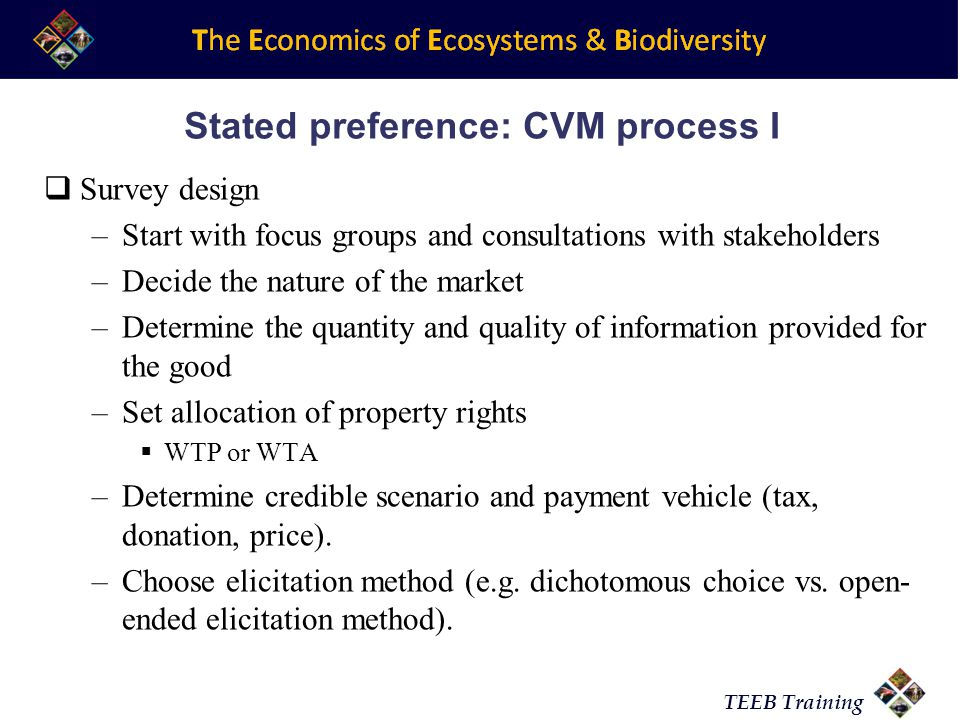 Stated preference: CVM process I