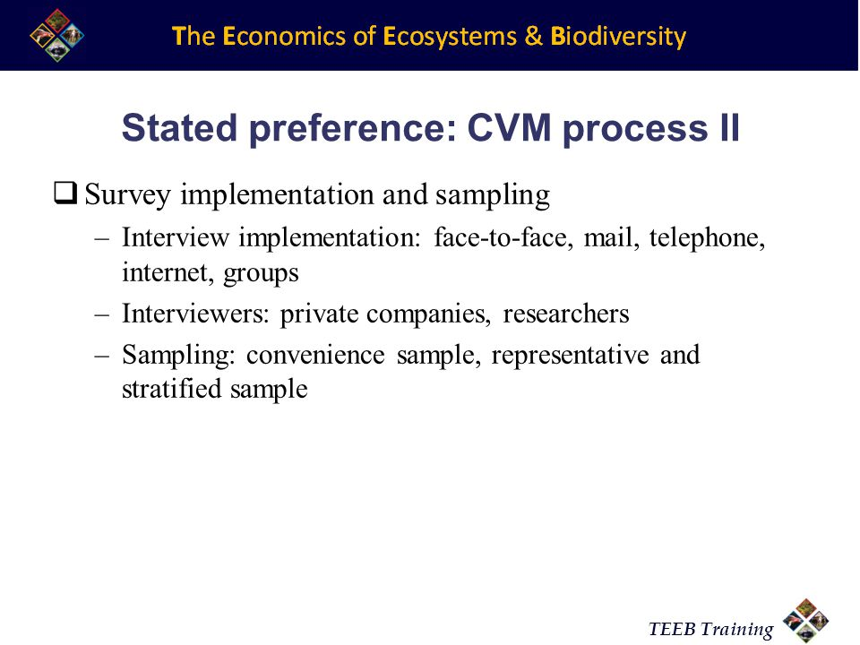 Stated preference: CVM process II