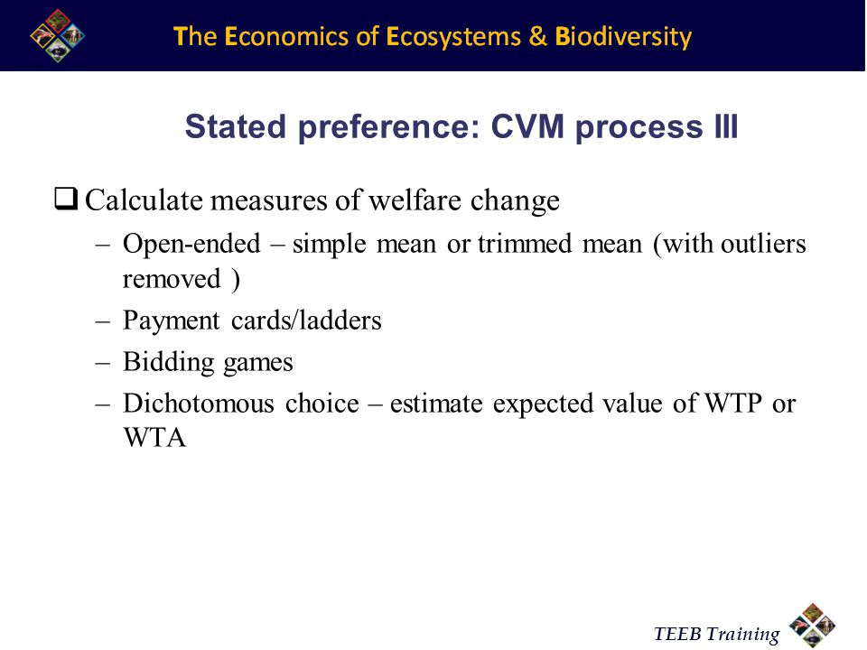 Stated preference: CVM process III