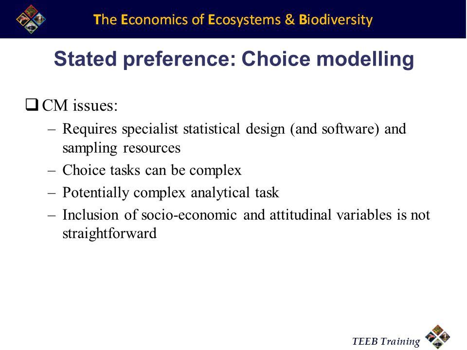 Stated preference: Choice modelling