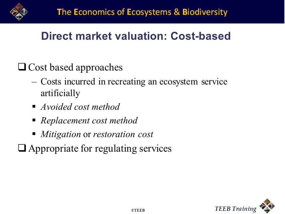 Direct market valuation: Cost-based