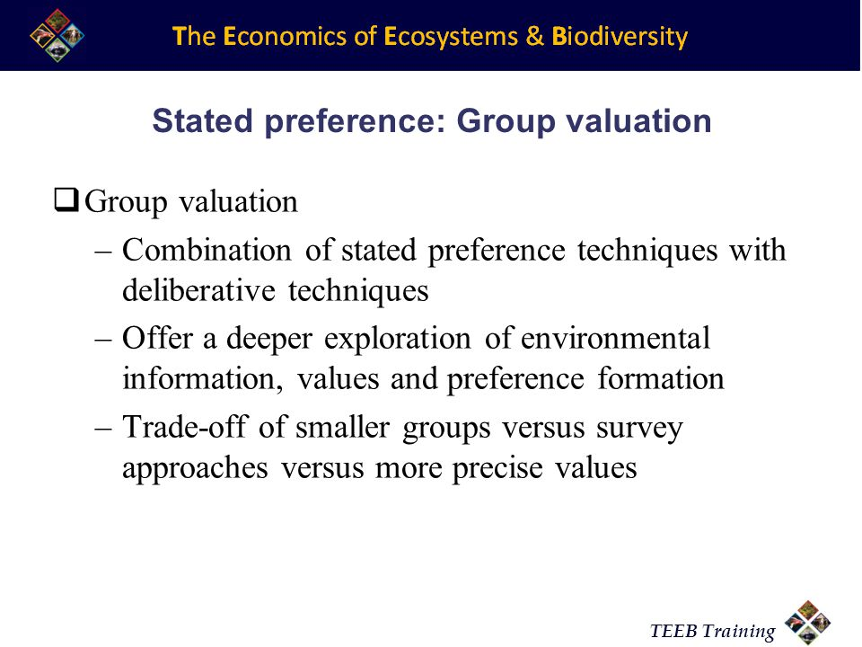 Stated preference: Group valuation