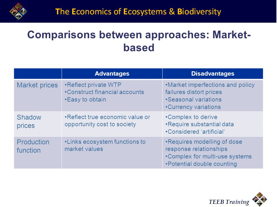 Comparisons between approaches: Market-based