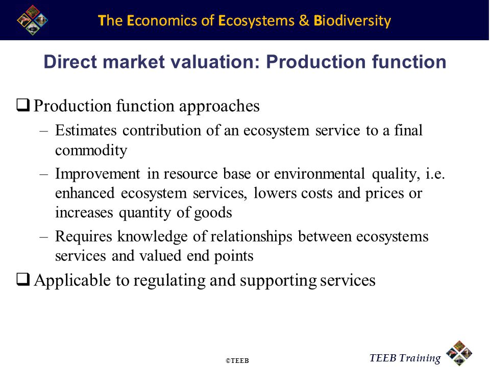 Direct market valuation: Production function