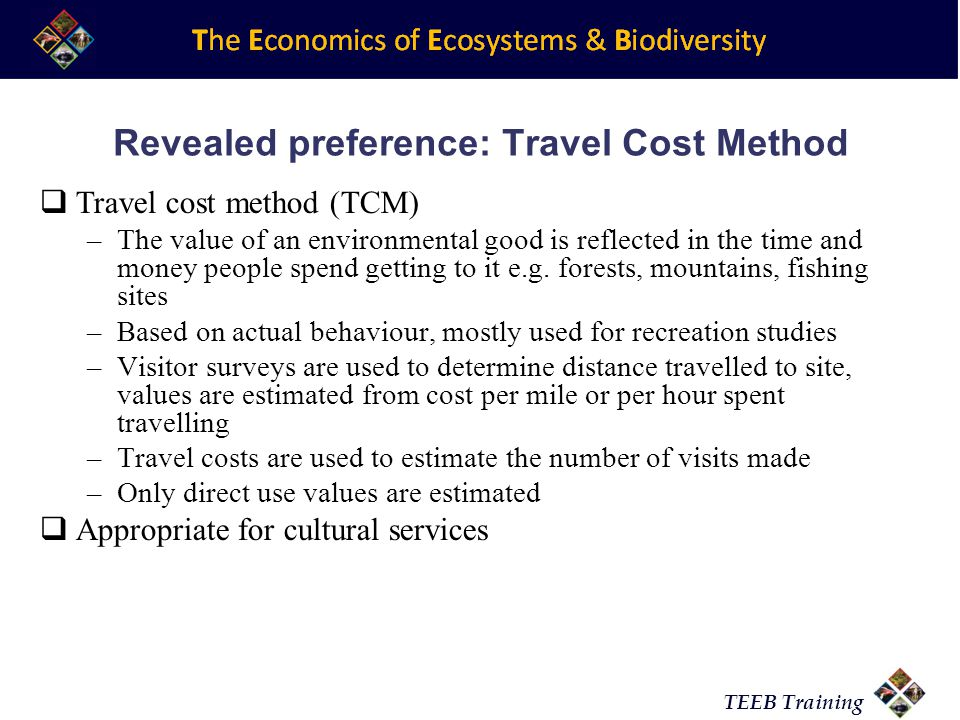 Revealed preference: Travel Cost Method