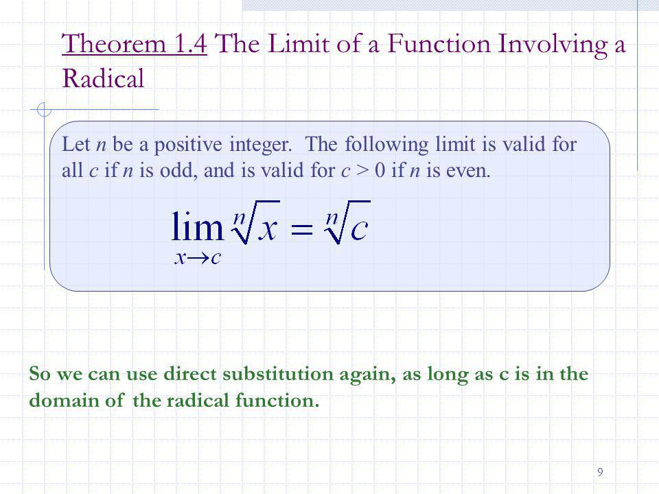 Theorem 1.4 The Limit of a Function Involving a Radical