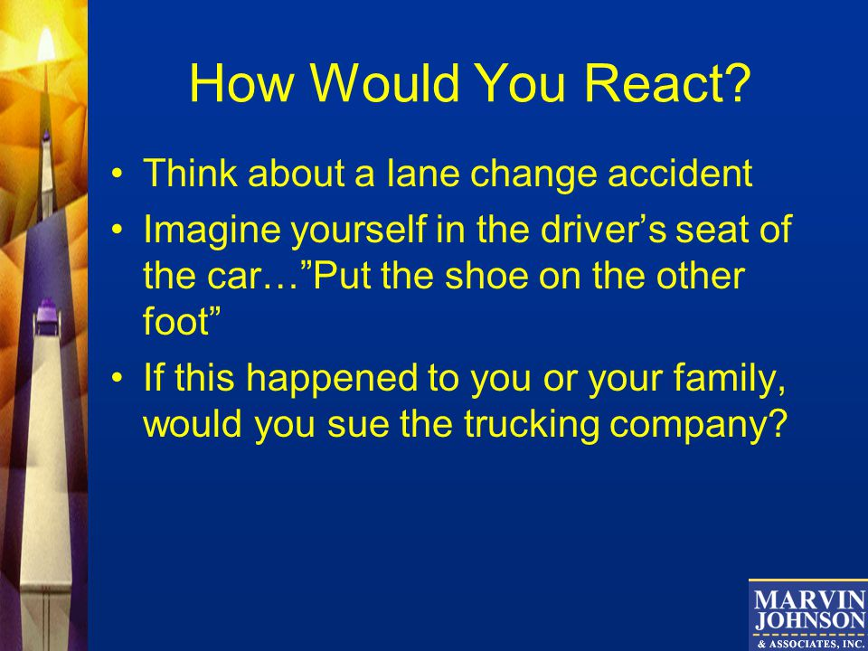 How Would You React Think about a lane change accident