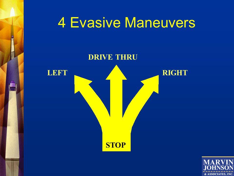 4 Evasive Maneuvers DRIVE THRU LEFT RIGHT STOP