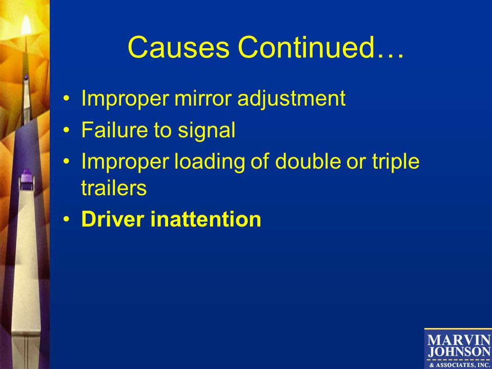 Causes Continued… Improper mirror adjustment Failure to signal
