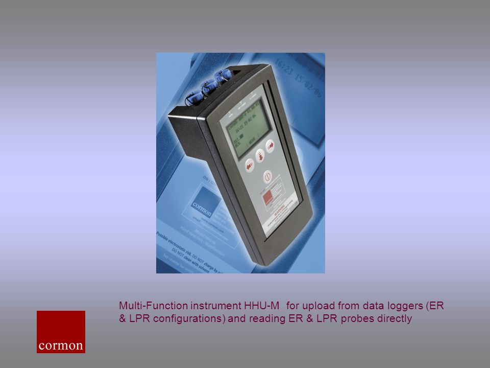 Multi-Function instrument HHU-M for upload from data loggers (ER & LPR configurations) and reading ER & LPR probes directly