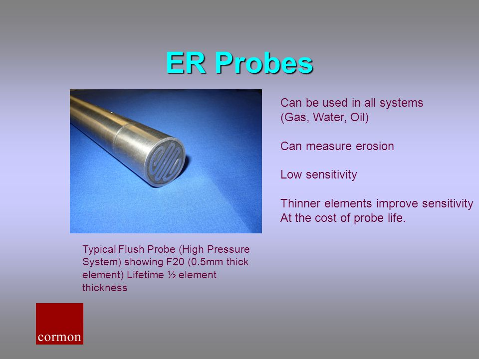 ER Probes Can be used in all systems (Gas, Water, Oil)