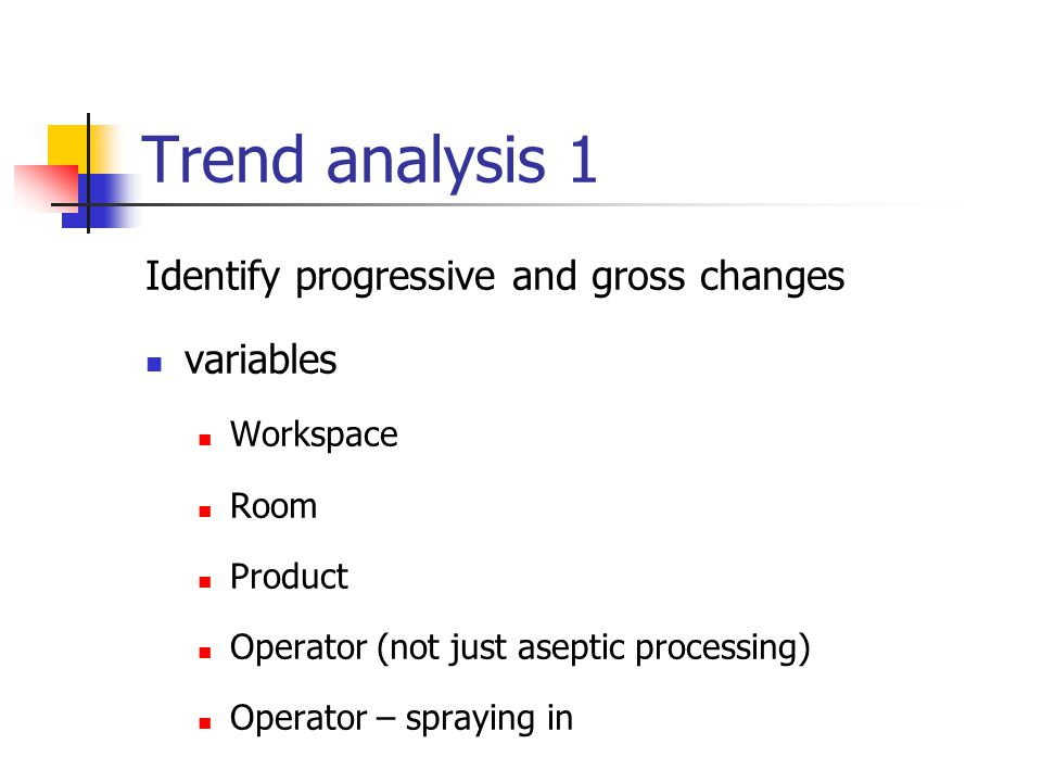 Trend analysis 1 Identify progressive and gross changes variables