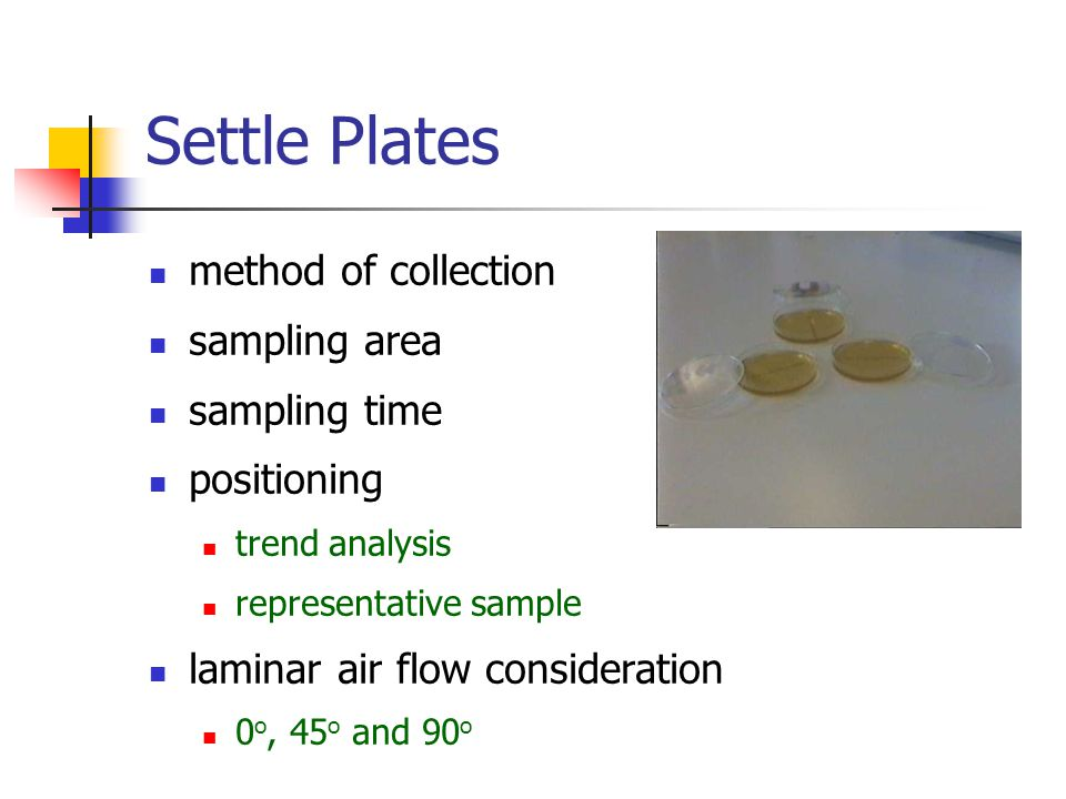 Settle Plates method of collection sampling area sampling time