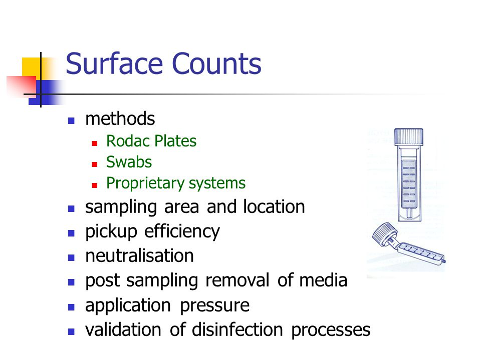 Surface Counts methods sampling area and location pickup efficiency