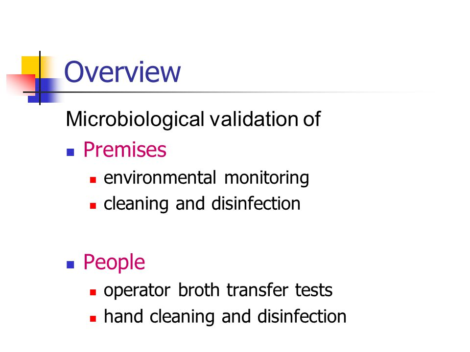 Overview Microbiological validation of Premises People
