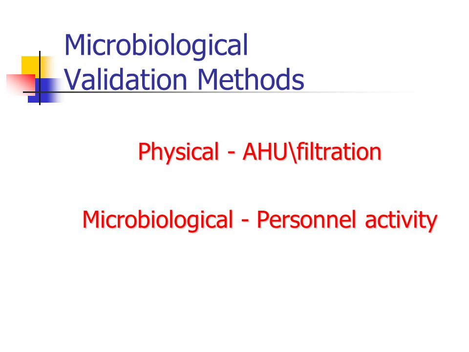 Microbiological Validation Methods