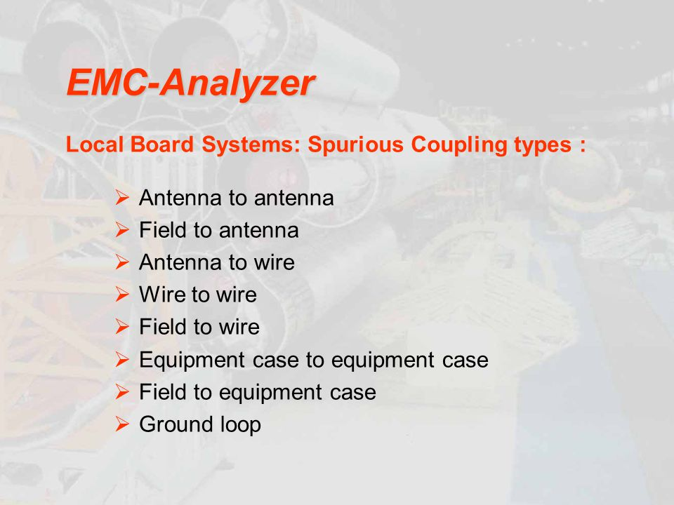 EMC-Analyzer Local Board Systems: Spurious Coupling types :