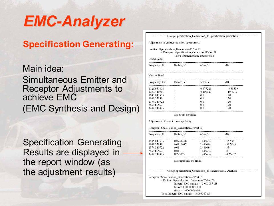 EMC-Analyzer Specification Generating: Main idea: