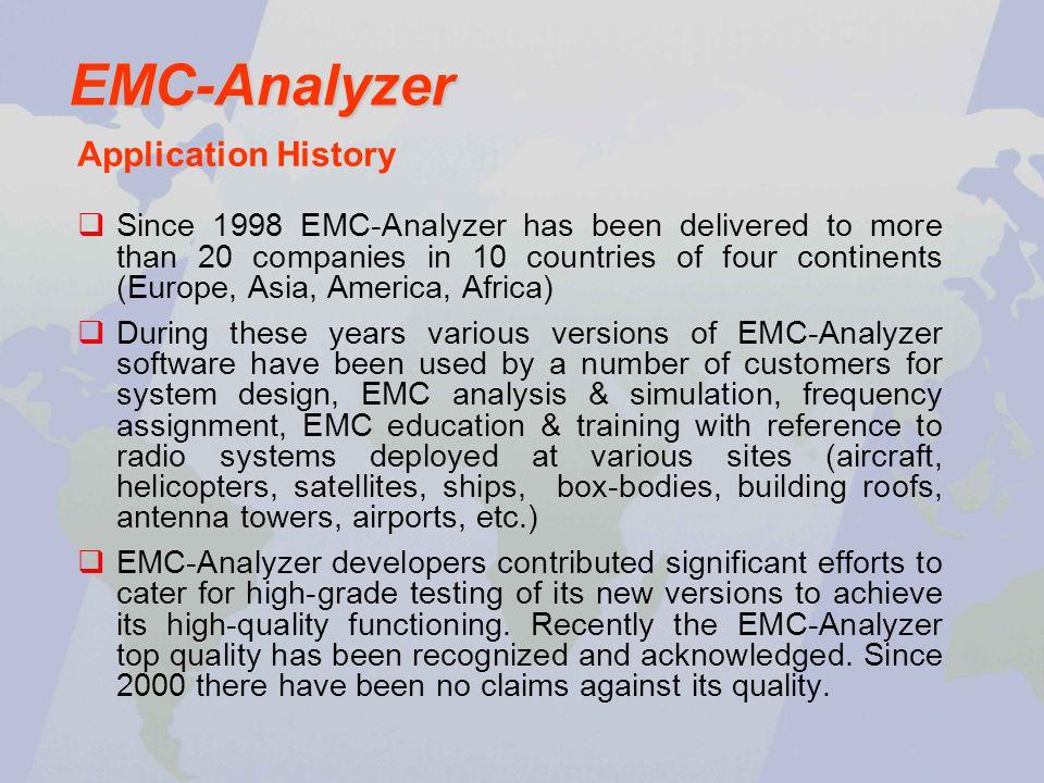 EMC-Analyzer Application History