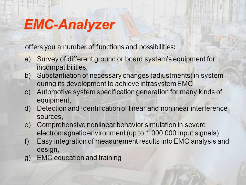EMC-Analyzer offers you a number of functions and possibilities: