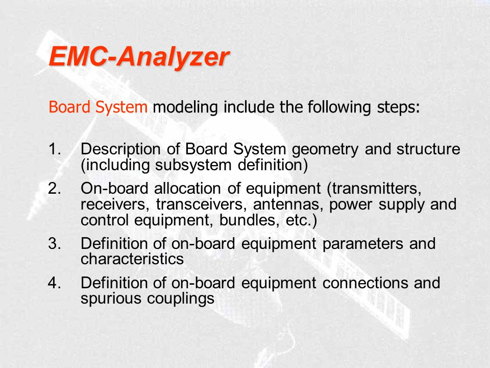 EMC-Analyzer Board System modeling include the following steps: