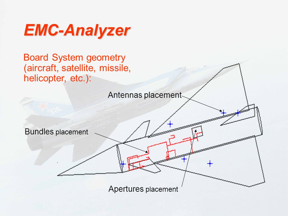 EMC-Analyzer Antennas placement. Board System geometry (aircraft, satellite, missile, helicopter, etc.):