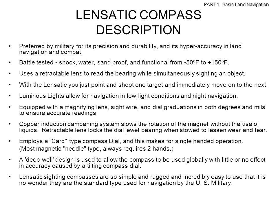 LENSATIC COMPASS DESCRIPTION