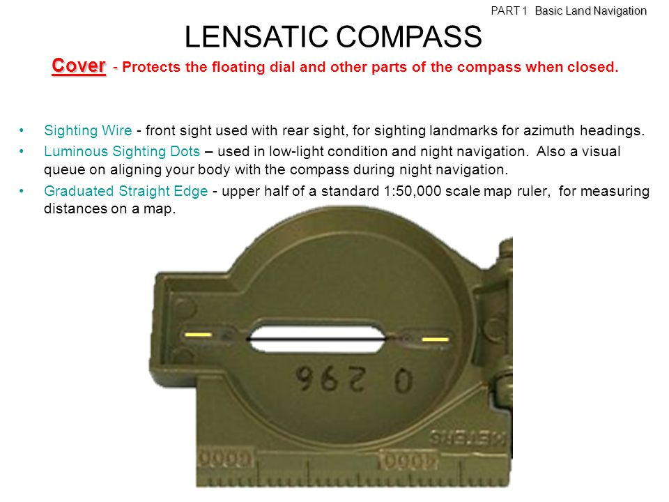 LENSATIC COMPASS Cover - Protects the floating dial and other parts of the compass when closed.