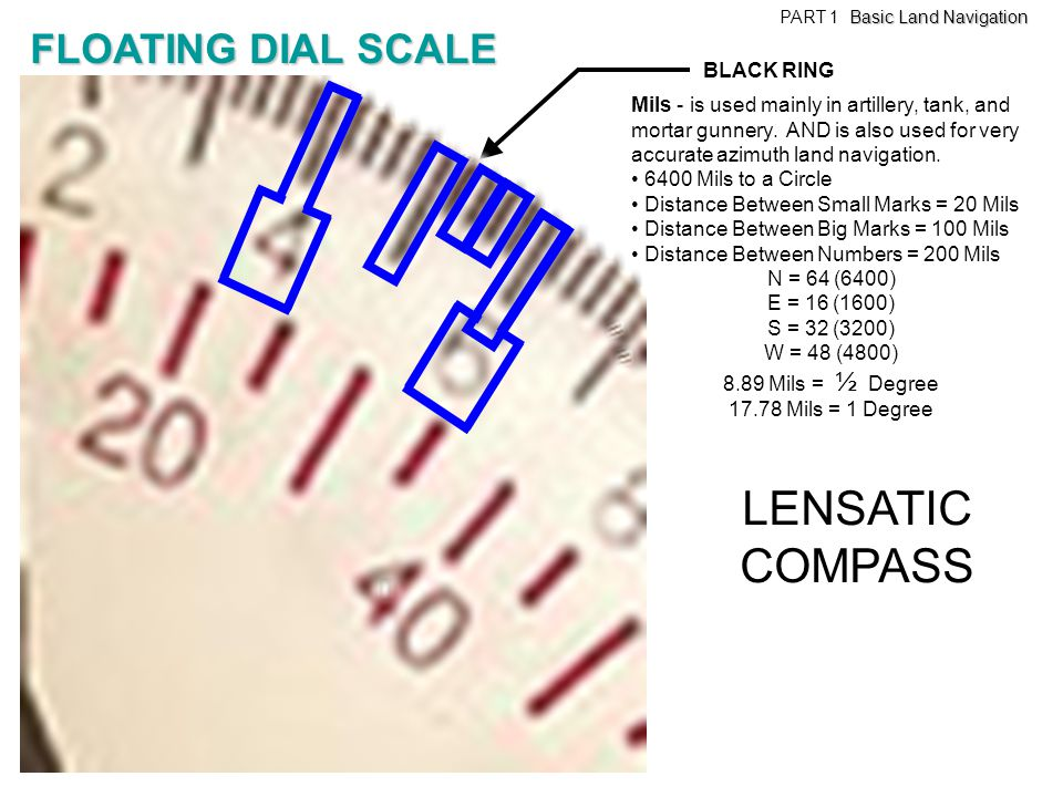 LENSATIC COMPASS FLOATING DIAL SCALE BLACK RING