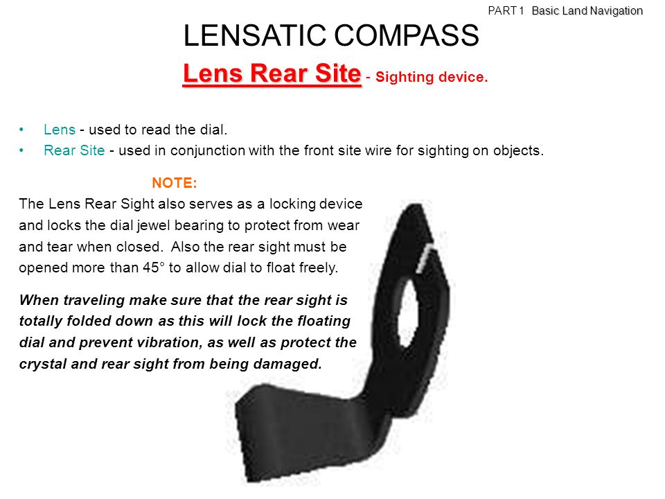 LENSATIC COMPASS Lens Rear Site - Sighting device.